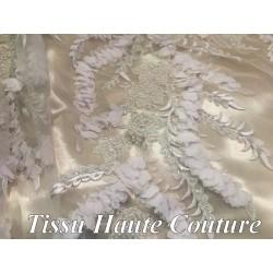 Dentelle Perlée Haute Couture Blanche , Pour Robes De Mariage Et Cerémonie.