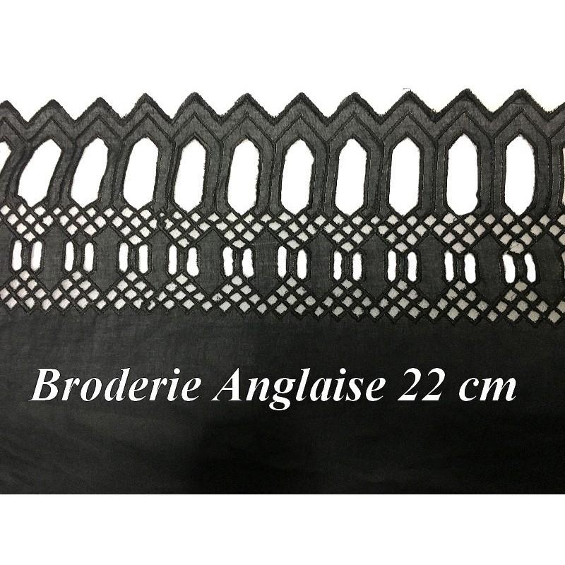 Broderie Anglaise Coton Au Mètre en 22 cm Noir à Coudre.