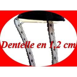 Dentelle Au Mètre Fixe En 1,2 Cm , Liseré Noir A Coudre Pour Loisirs Créatifs.