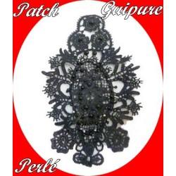 Motif Patch En Dentelle Guipure Noir Perlée A Coudre Pour Loisirs Créatifs Et Customisations.
