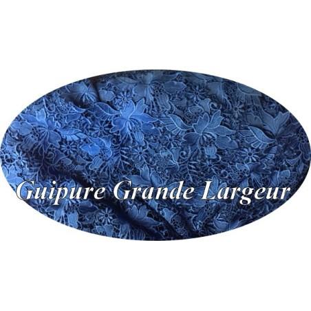 Dentelle Guipure Au Mètre Bleu Indigo En Grande Largeur, Pour La Créations De Robes De Cerémonies Et Lingerie.