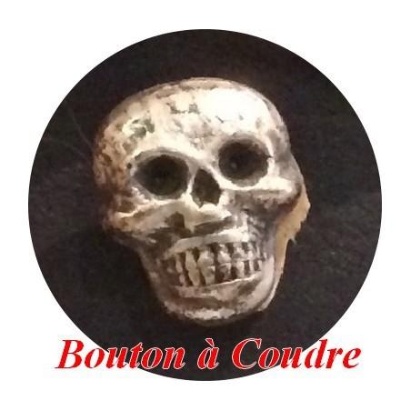 Bouton Tète De Mort En 15 mm Métal Argent Vieilli Pour La Couture.