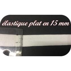 Elastique Plat Au Mètre en 15 mm Blanc Pour La Couture