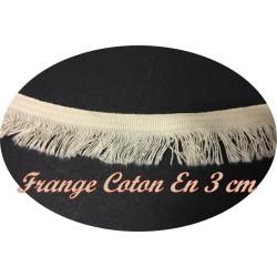 Frange Charleston Au Mètre Ecru Coton En 3 cm - Galon A Frange