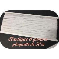 Elastique Plat En 6 Gommes Blanc Vendu Par Plaquette de 50 Mètres Pour La Couture