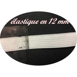 Elastique Plat Au Mètre en 12 mm Blanc Pour La Couture