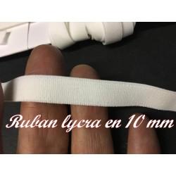 Ruban Lycra En 1 Cm  Au Mètre Blanc Pour Lingerie et Customisation.