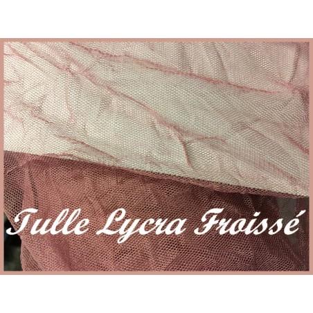 Tulle Résille Vieux Rose Froissé en Lycra au Mètre