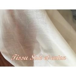 Tissu Coton Et Soie Au Mètre Ecru Couture.