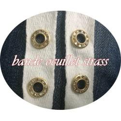Bande à Oeuillet Doré Strass Sur Coton Blanc Au Mètre En 2 Cm A Coudre Pour Cosets, Agrafage et Serrage.