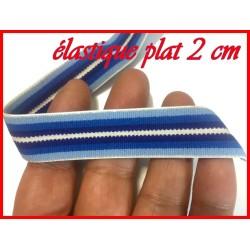 Elastique Plat Au Mètre en 20 mm A Rayure Bleu Indigo, Bleu Marine , Bleu Ciel Et Blanc Pour La Couture.