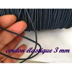 Cordon Lacet Elastique Bleu Marine Rond En 3 mm A Coudre Pour Loisirs Créatifs.