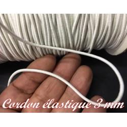 Cordon Lacet Elastique Blanc Rond En 3 mm A Coudre Pour Loisirs Créatifs.