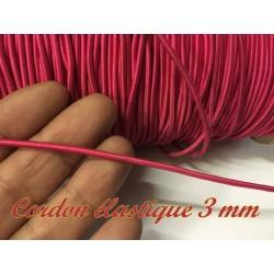 Cordon Lacet Elastique Fuschia Rond En 3 mm A Coudre Pour Loisirs Créatifs.