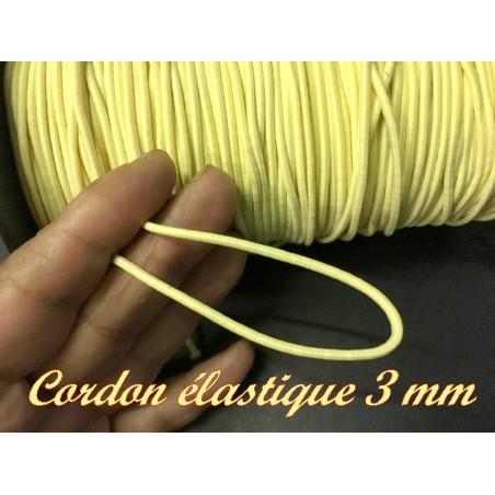 Cordon Lacet Elastique Jaune Rond En 3 mm A Coudre Pour Loisirs Créatifs.