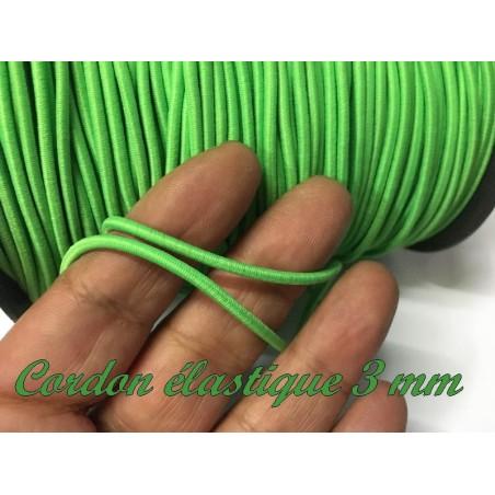 Cordon Lacet Elastique Vert Fluo Rond En 3 mm A Coudre Pour Loisirs Créatifs.