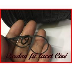 Cordon Lacet Ciré Au Mètre En 2 mm Noir Pour Colliers, Laçage, Bracelets, Et Loisirs Créatifs