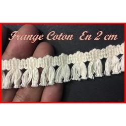 Frange Charleston En 2 Cm Ecru Au Mètre En Pompon Coton Pour Loisirs Créatifs.