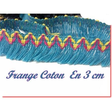 Frange En Coton En 3 Cm Fantaisie Turqoise Pour Décorations De Vêtements
