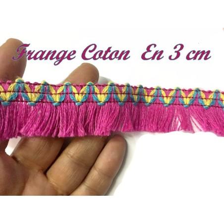 Frange En Coton En 3 Cm Fantaisie Fuschia Pour Décorations De Vêtements