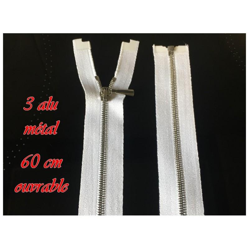 Zip Fermeture A Glissière Métal Fine Argent Blanche En 60 Cm Ouvrable