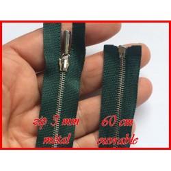 Zip Fermeture A Glissière Métal Fine maille Argent Emeraude En 60 Cm Ouvrable