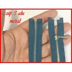 Zip Fermeture A Glissière Métal Fine Maille Argent Bleu Canrad En 60 Cm Ouvrable.