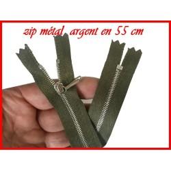 Zip Fermeture A Glissière Métal Fine Argent Kaki En 55 Cm Non-Ouvrable
