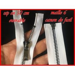 Zip Fermeture A Glissière Métal Maille Canon De Fusil Blanche En En 50 Cm Ouvrable