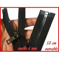 Zip Fermeture A Glissière Métal Maille Canon De Fusil En 50 Cm Noir Ouvrable