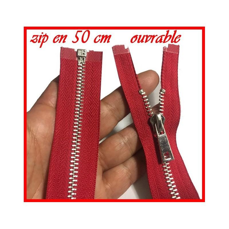 Zip Fermeture A Glissière Métal Maille Argent En 50 Cm Rouge Ouvrable