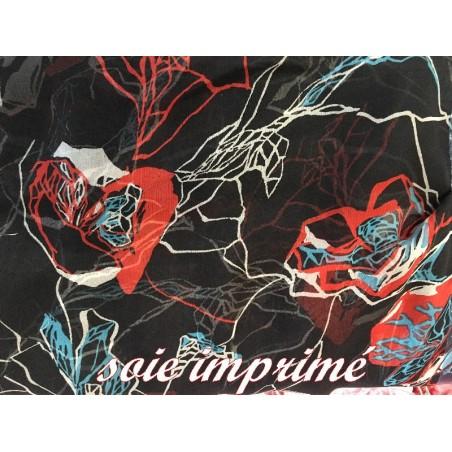 Mousseline de Soie Haute Couture Noir avec Imprimé Fleurs ivoire, Turquoise Et Brique Au Mètre.