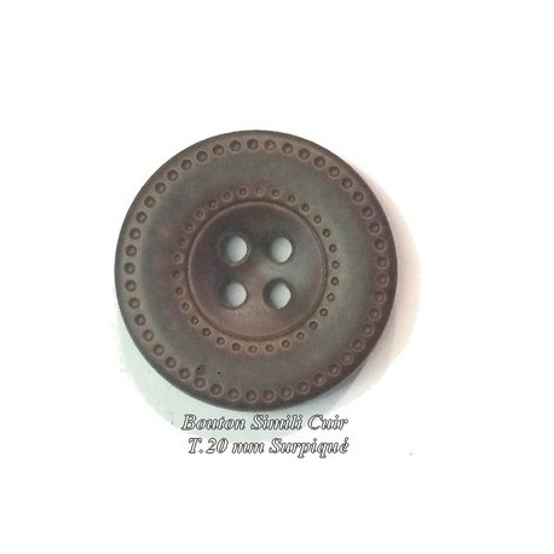 Bouton Cuir Simili 20 mm A Coudre En 4 Trous Marron-Choco