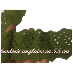 Broderie Anglaise au Mètre kaki en 5.5 cm à Coudre.