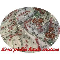 Tissu Haute Couture Pérlé Sur Résille Tulle vert Pour Robes de cocktail, Cérémonies Et Caftans De luxe