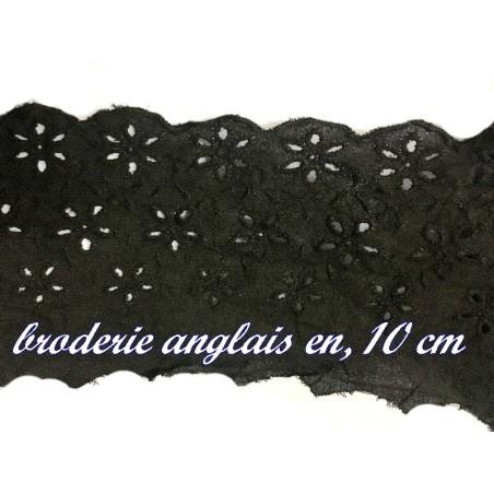 Broderie Anglaise Coton au Mètre en 10 cm Noir.