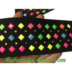 Elastique Plat Multicolore Sur Fond Noir En 6 Cm Au Mètre A Coudre Pour Ceintures Loisirs Créatifs Et Customisations.