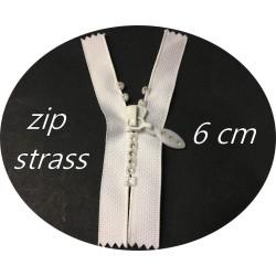 Fermetures Zip strass Blanc en 6 cm Non-Ouvrable, A Coudre.