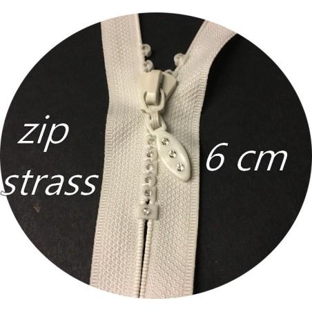 Fermetures Zip strass Ecru en 6 cm  Non-Ouvrable, A Coudre.