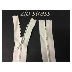 Zip Strass En 50 Cm ivoire, Fermeture éclair strass Non-Ouvrable Pour Customisations.