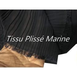 Tissu Plissé En crêpe Bleu Marine A Coudre, Pour Chemisers, Jupes, Et Customisations.