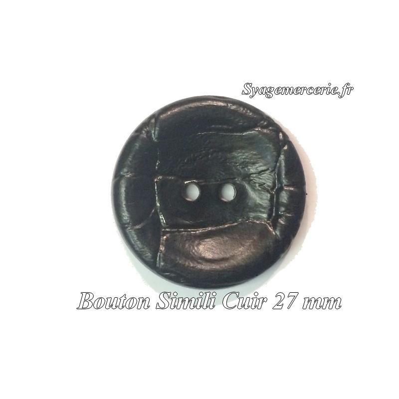 Bouton Cuir Simili 27 mm En 2 Trous Noir