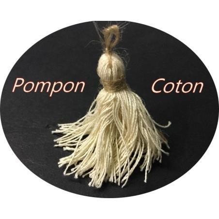 Pompon En Coton En Ecru Naturel Pour Customisations Et Loisirs Créatifs