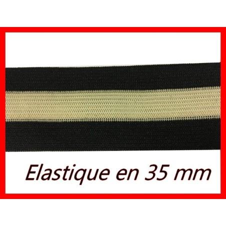 Elastique Ruban Plat Noir et Jaune En 3,5 Cm Au Mètre A Coudre Pour Ceintures Loisirs Créatifs Et Customisations.