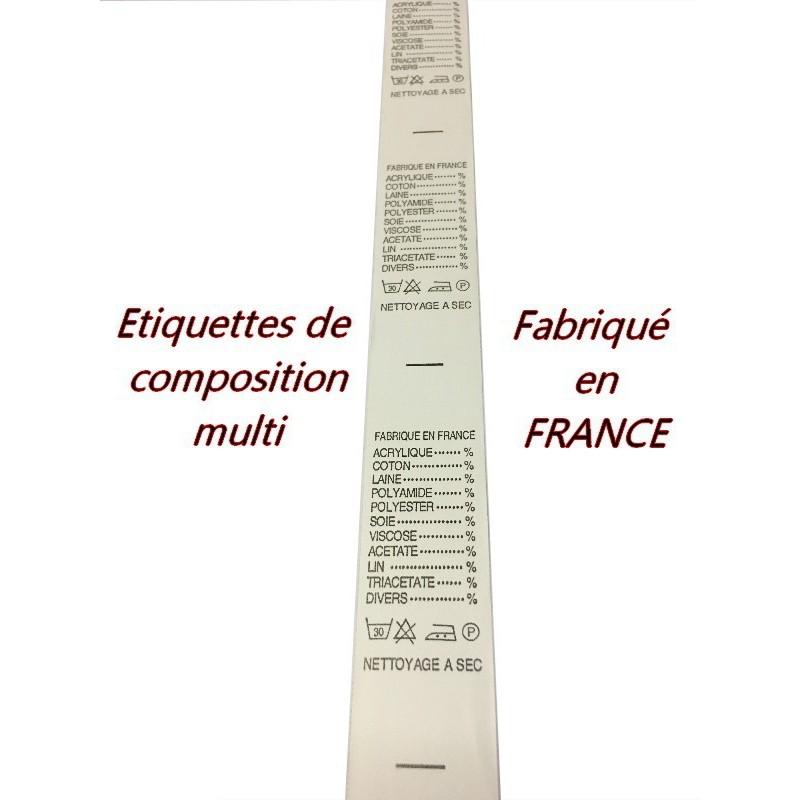 """Etiquette De Vêtementst A Coudre Au Mètre Par 13 Piéces A Coudre De Composition Textile , Contexture """" FABRIQUE EN FRANCE """"."""