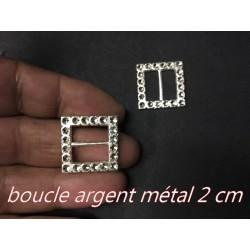 Boucle Ceinture Carré Façon Strass Argent En 2 Cm A Coudre.