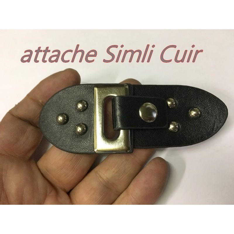 Attache En 2 Parties En Simili Cuir Noir Avec Boucle pression PouR Décorations De Sacs, Vestes, Tailleurs.