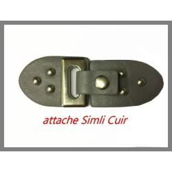 Attache En 2 Parties En Simili Cuir Gris Avec Boucle pression PouR Décorations De Sacs, Vestes, Tailleurs.