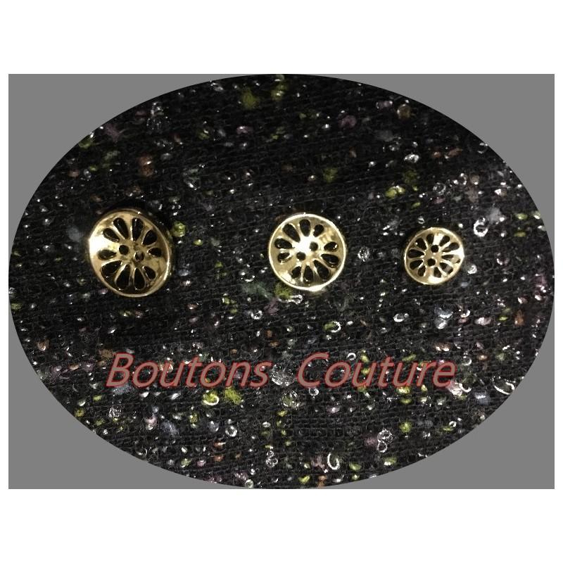 Bouton Couture Finition En Doré Fantaisie Plat 2 Trous