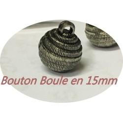 Bouton Boule Couture Argent Vieilli   En Taille 15 mm